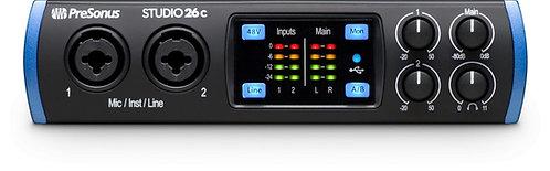 PreSonus Studio 26c 2X4 USB-C / 24-bit/192kHz, w/2 Mic inputs