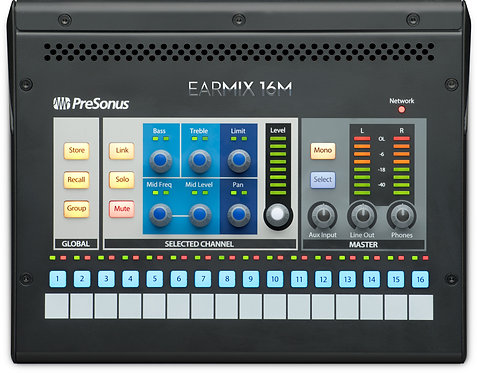 PreSonus EarMix 16M: 16x2 AVB-networked personal monitor mixer