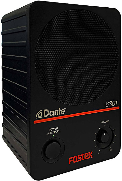 "Fostex 6301 Dante: RJ45 Dante & 1/4"" TS analog inputs"
