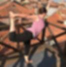 Yoga teacher in Dancer pose