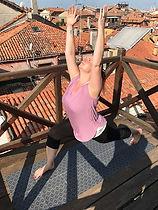 Warrior I yoga pose, Bracknell based yoga teacher