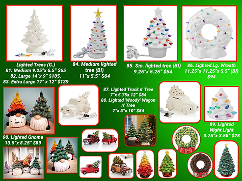 TPP TO GO Lighted Holiday Item w- prices