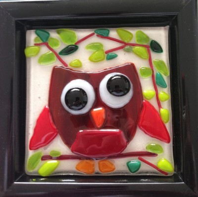 fused glass owll on tile