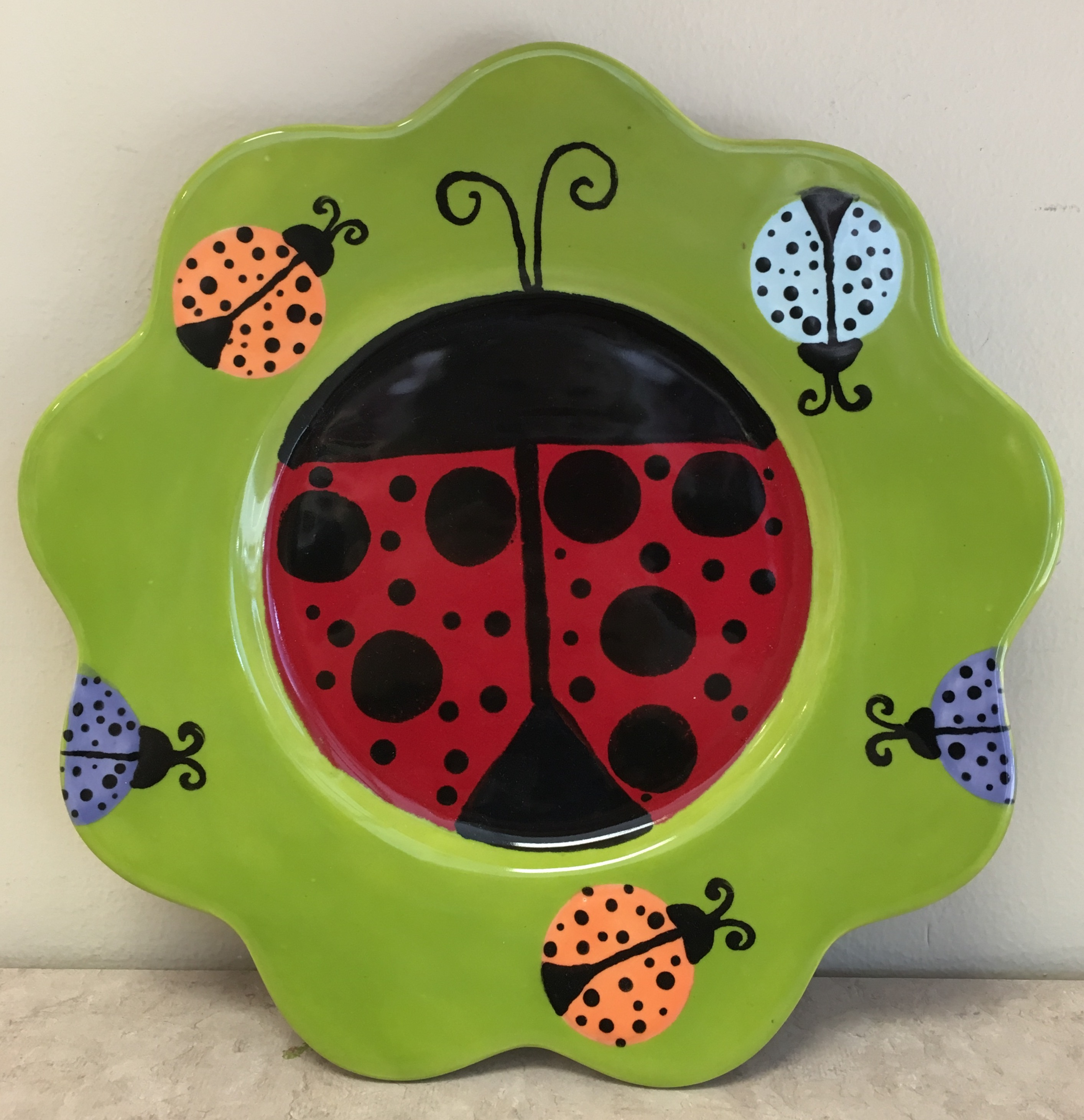 art camp 2017 June ladybug plate