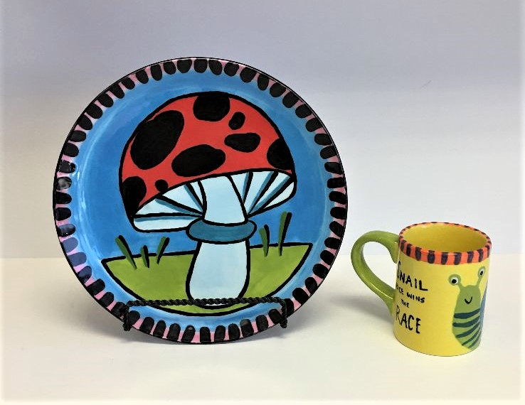 Toad stool plate & Snail mug class July