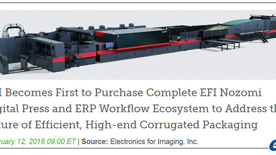 CSI has Purchased the Complete EFI Nozomi Digital Press and ERP Workflow Ecosystem for High-end Corr