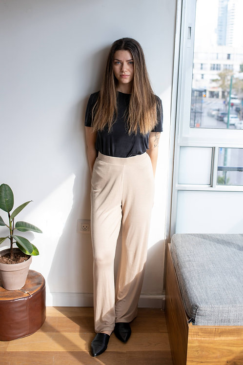 Wide Leg Beige Pants