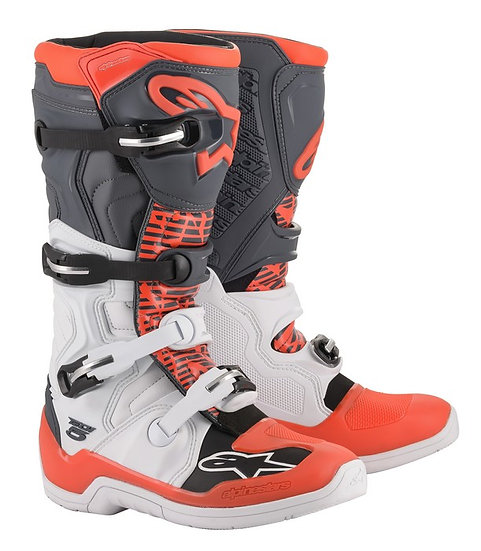 ALPINESTARS TECH 5 BOOT WHITE/GREY/RED FLUO