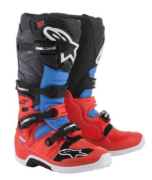 ALPINESTARS TECH 7 BOOT RED FLO/CYAN/GREY/BLACK