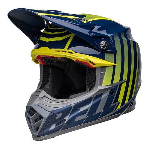 Bell MX 2022 Moto-9S Flex Adult Helmet Sprint M/G Dark Blue/Hi-Viz Yellow