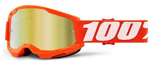 100% Strata 2 Junior Goggles Orange- Mirror Gold Lens