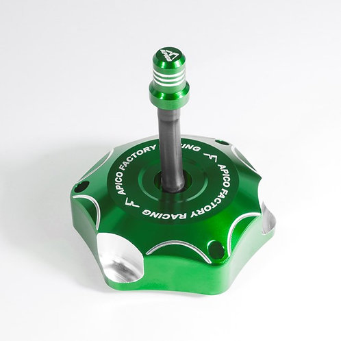 Apico Kawasaki Alloy Fuel Cap Green