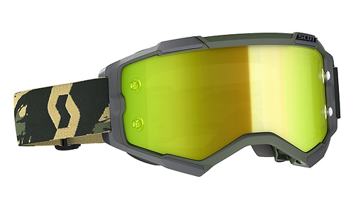 Scott 2021 Fury Goggle Camo Khaki With Yellow Chrome Works
