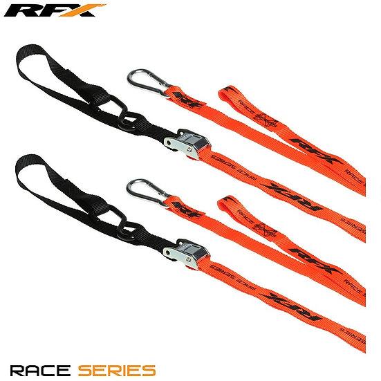 RFX Race Series 1.0 Tie Downs Orange/Black with extra loop & carabiner clip