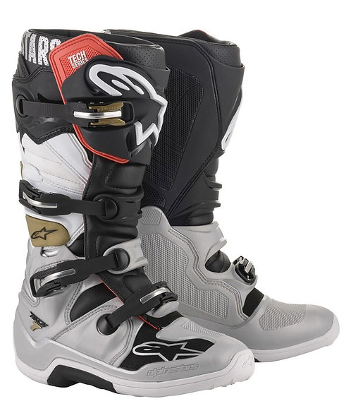 ALPINESTARS TECH 7 BOOT BLACK/SILVER/WHITE/GOLD