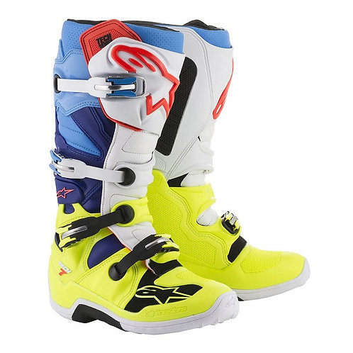 Alpinestars Tech 7 Boot Yellow Flo/White/Blue/Cyan
