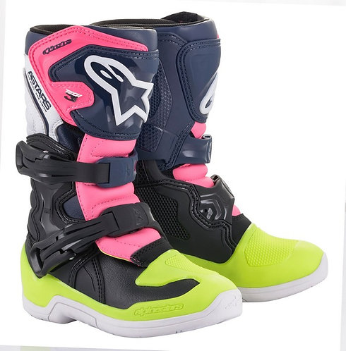 ALPINESTARS TECH 3S KIDS BOOT BLACK/BLUE/PINK FLOW
