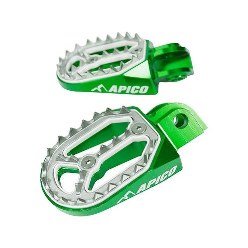 Apico Kawasaki Pro- Bite Foot Pegs Green