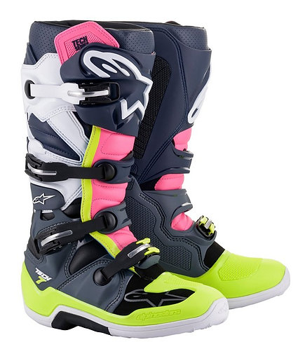 ALPINESTARS TECH 7 BOOT GREY/DARK BLUE/PINK