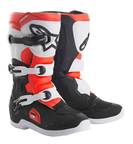 ALPINESTARS TECH 3S YOUTH BOOT BLACK/WHITE/RED FLO