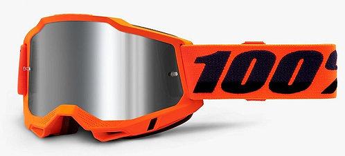 100% Accuri 2  Neon Orange Goggle Mirror Silver Lens