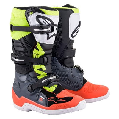 ALPINESTARS TECH 7S YOUTH BOOT GREY/RED FLUO/YELLOW FLUO