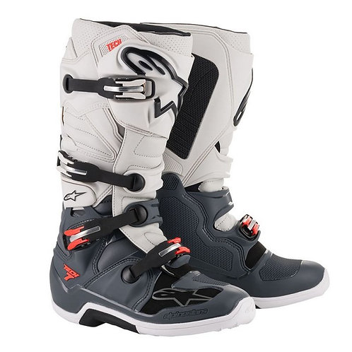 ALPINESTARS TECH 7 BOOT DARK GREY/LIGHT GREY/RED FLUO