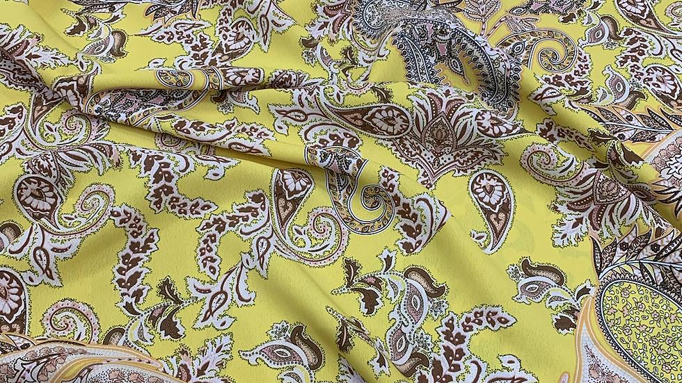 בד קרפ פייזלי צהוב