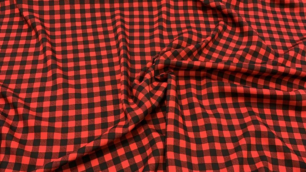 בד ויסקוזה משבצות שחור אדום
