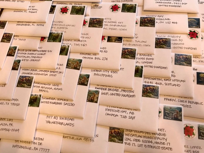 Letters with addresses from around the world