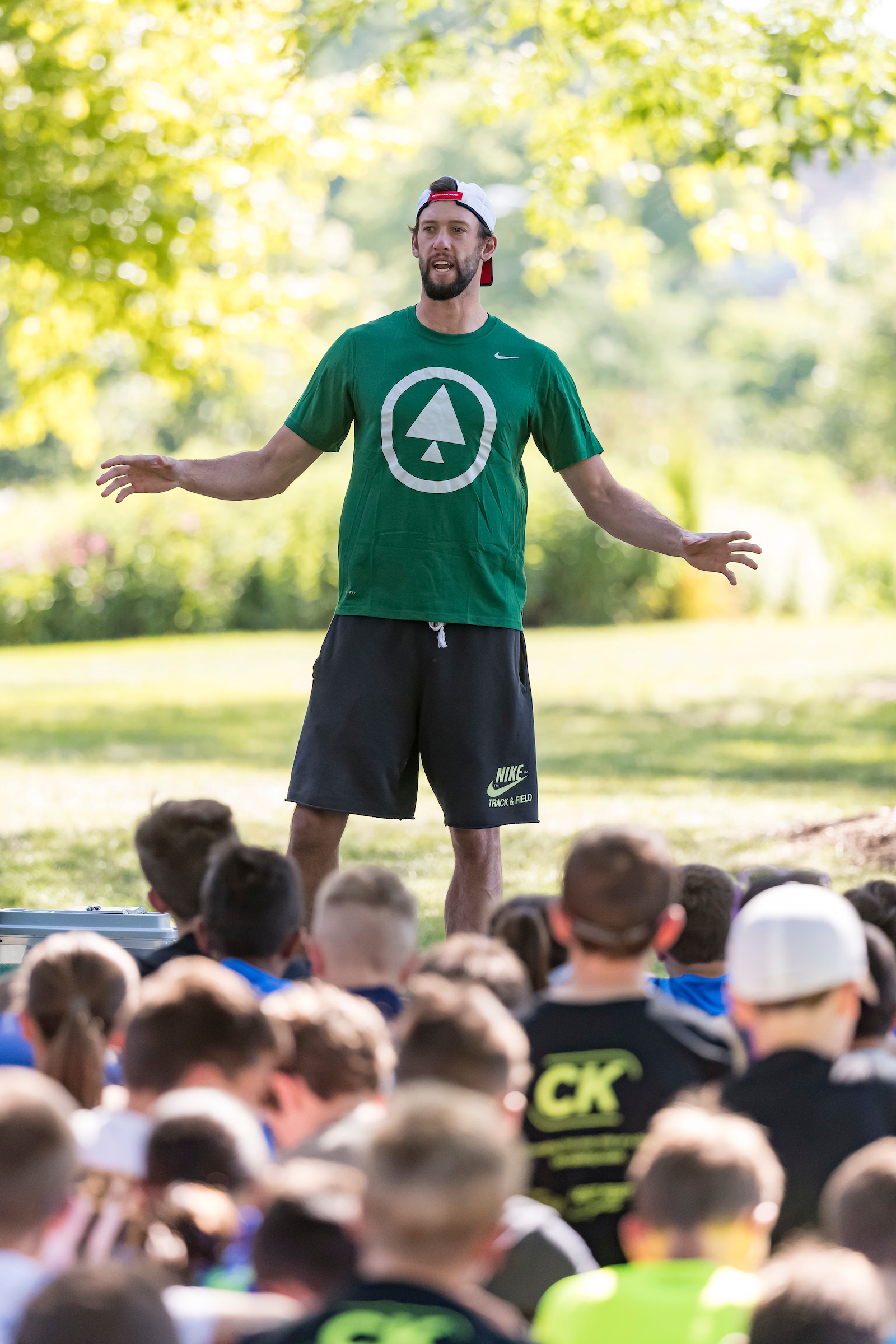 Andy Wheating giving a motivational talk about how running changed his life for the better