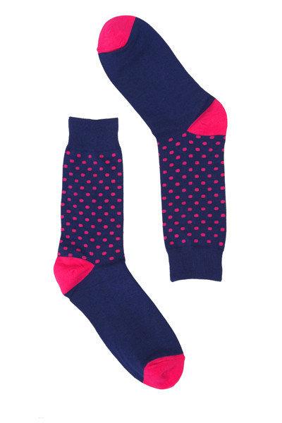 Navy & Pink Spot Socks