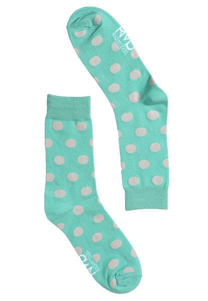 Aqua & White Spot Socks