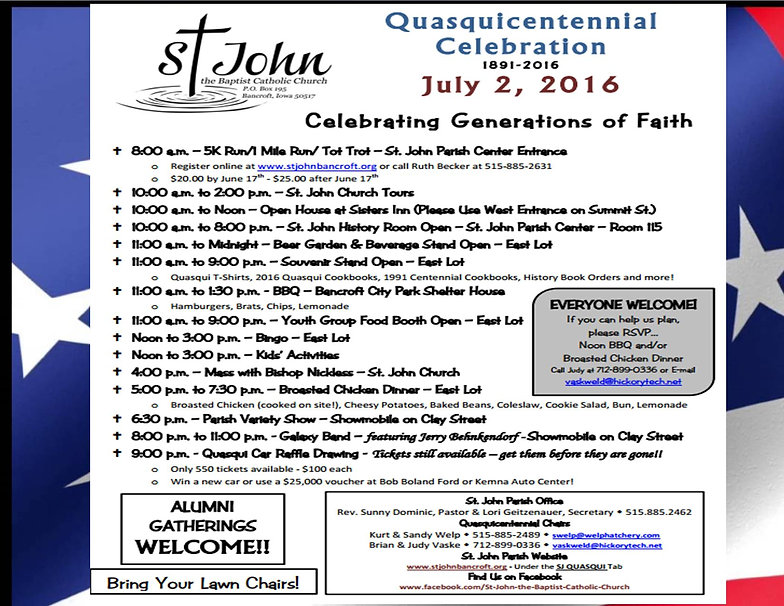 Saint John's Church quasquicentennial celebration 2016 schedule of events