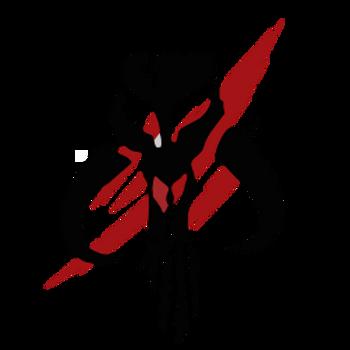 A insígnia dos Mandalorianos com marca vermelha