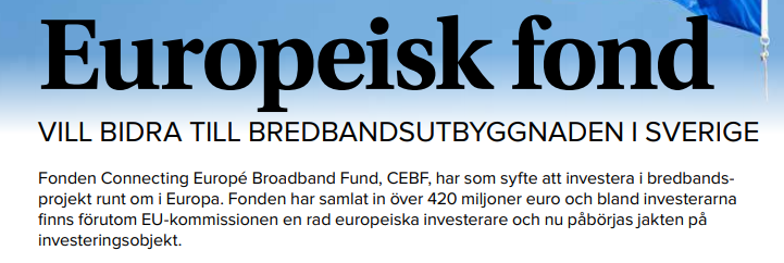 CEBF team was interviewed for the Svenska Stadsnätsföreningen magazine