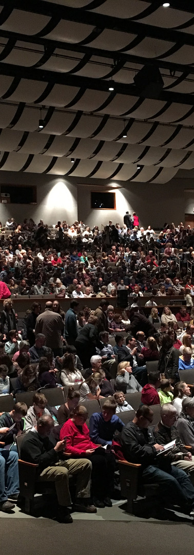 A shot of the 1,235 seats filled by a house full of people
