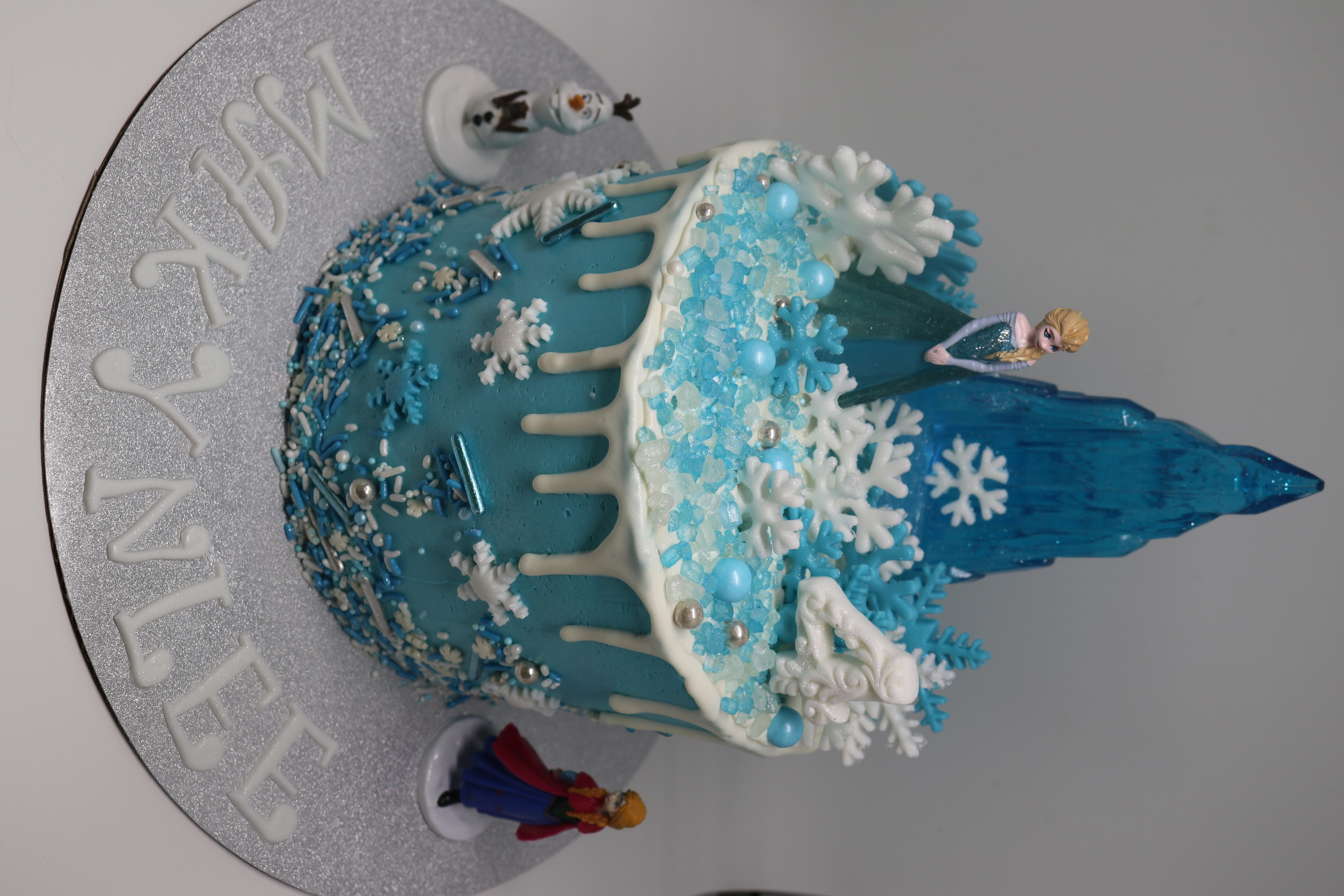 Frozen Themed Drip Cake