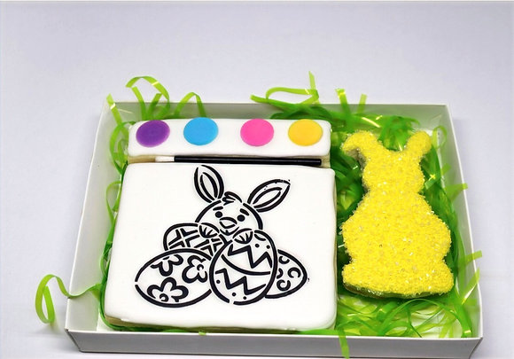 """Paint Your Own Sugar Cookie Gift Box """"Bunny & Eggs"""""""