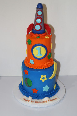 Space Themed 2 Tier 1st Birthday Cake