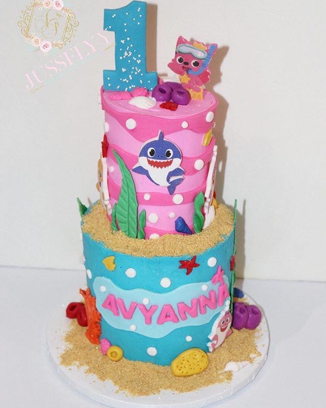 Baby Shark 2 Tier Cake