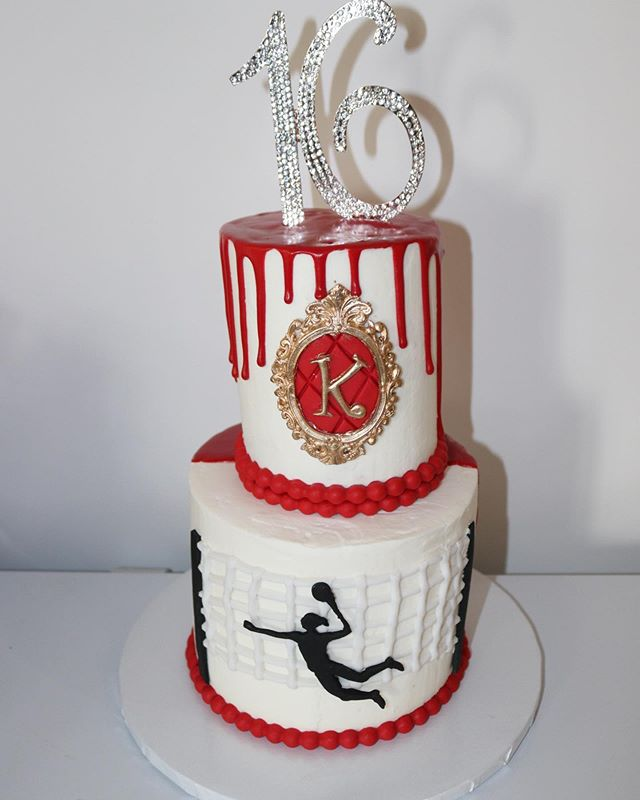 Custom Drip Volleyball Sweet 16 Cake