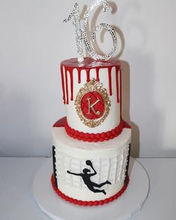 Custom Drip Volleyball Sweet 16 Cake