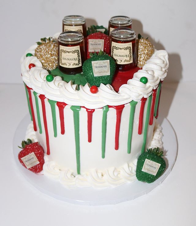 Christmas Hennessy Drip cake