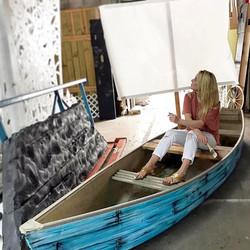 Work in progress! SNEAK PEAK!✌🏼#SeeWhatsNext #StayTuned #BoatShow #Canvas #LivePainting #Projects #