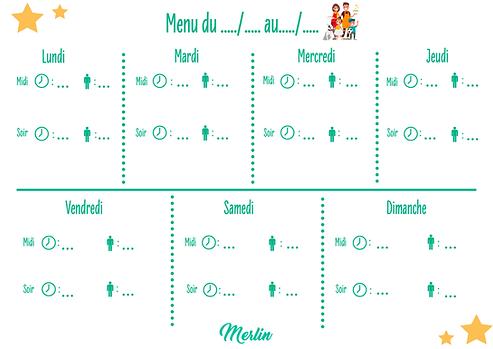 Modèle de menu pour la semaine par Merlin