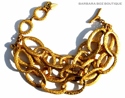 197G Hammered Organic Medium Link Bracelet
