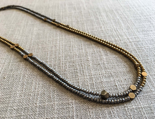 153 Metallic Stripe with Icon Necklace