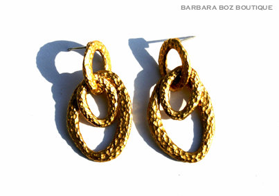 925 Hammered Organic 3 Link Short Earring