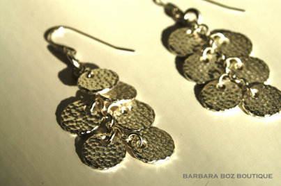 318 Small Hammered Charm Drop on Ring Earring